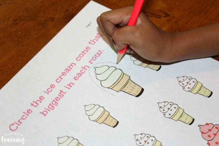 Big Vs Little Worksheets Preschool Worksheets Printable Ice Cream Preschool