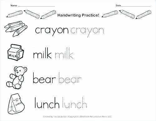 Blank Cursive Practice Sheets Kindergarten Handwriting Practice Worksheet Printable Fun