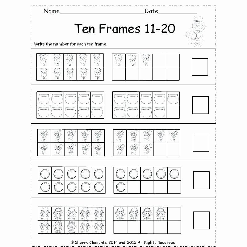 Blank Ten Frame Worksheets First Grade Math Worksheets Ten Frames 4 Friends