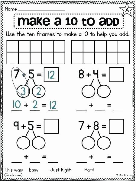 Blank Ten Frame Worksheets Making 10 Worksheets Kindergarten Adding by Making