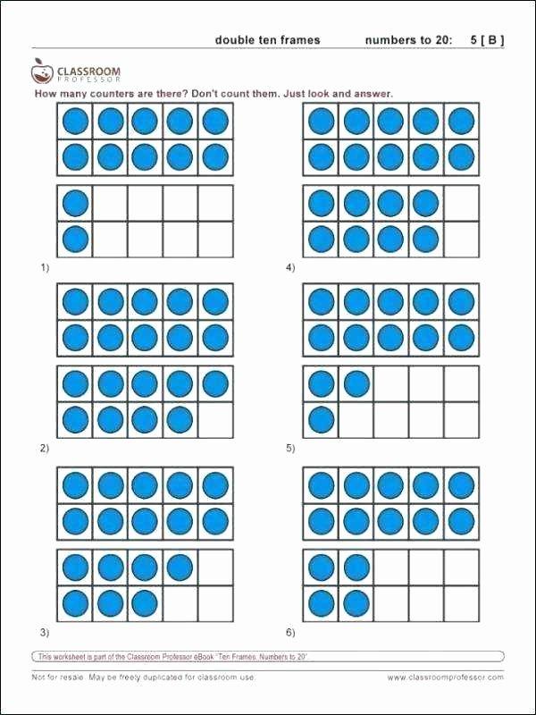 Blank Ten Frame Worksheets Ten Frame Worksheets Up to 20