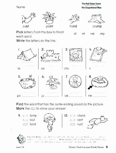Blends Worksheet for First Grade Beginning sounds Worksheets for First Grade
