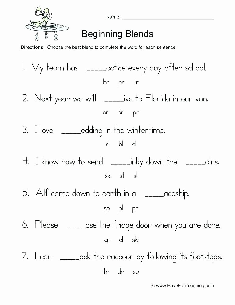 Blends Worksheet for First Grade Consonant Blends Worksheets
