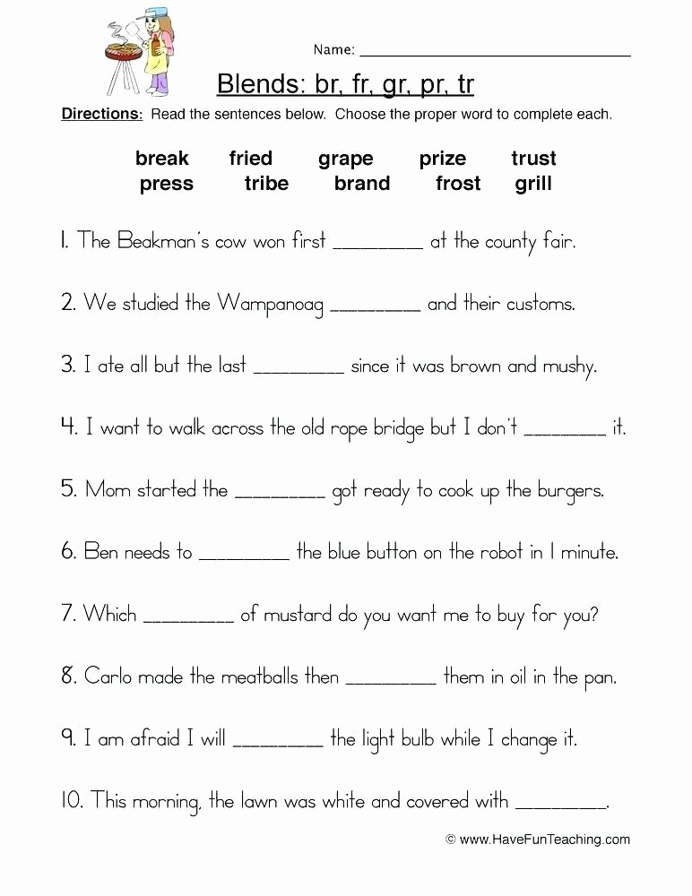 Blends Worksheets for 1st Grade Beginning Consonant Worksheets