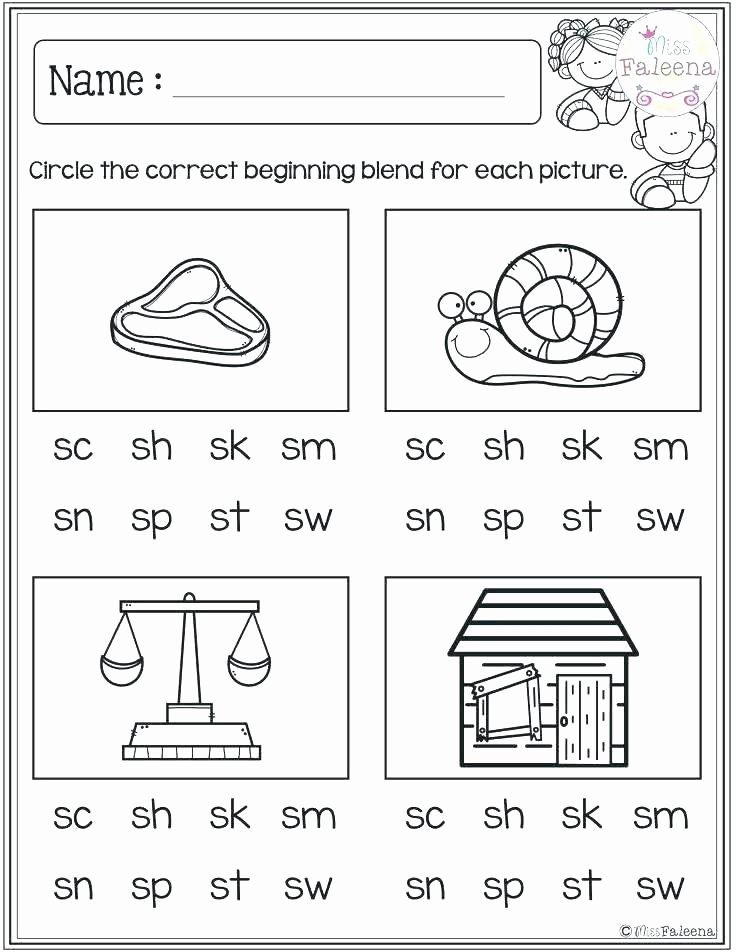Blends Worksheets for 1st Grade Beginning sounds Worksheets Free First Grade Consonants