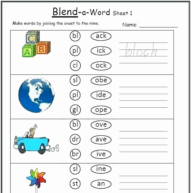 Blends Worksheets for 1st Grade Blending Worksheets for First Grade Consonant Blends