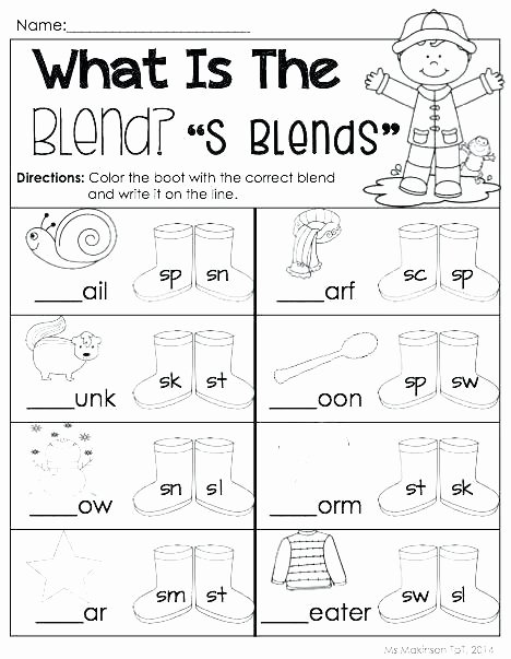 Blends Worksheets for 1st Grade Three Letter Consonant Blends Worksheets S Worksheet 2 3