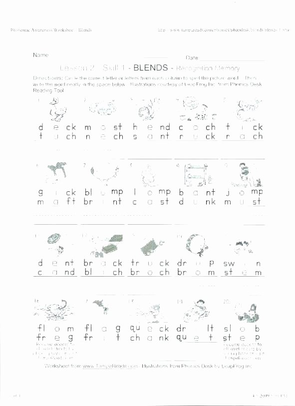 Blends Worksheets Kindergarten Free Free Worksheets Reading Prehension Grade Learning Reading