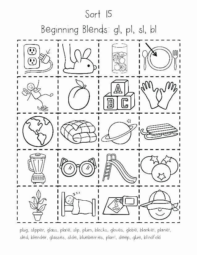 Blends Worksheets Kindergarten Free N Worksheets for Kindergarten