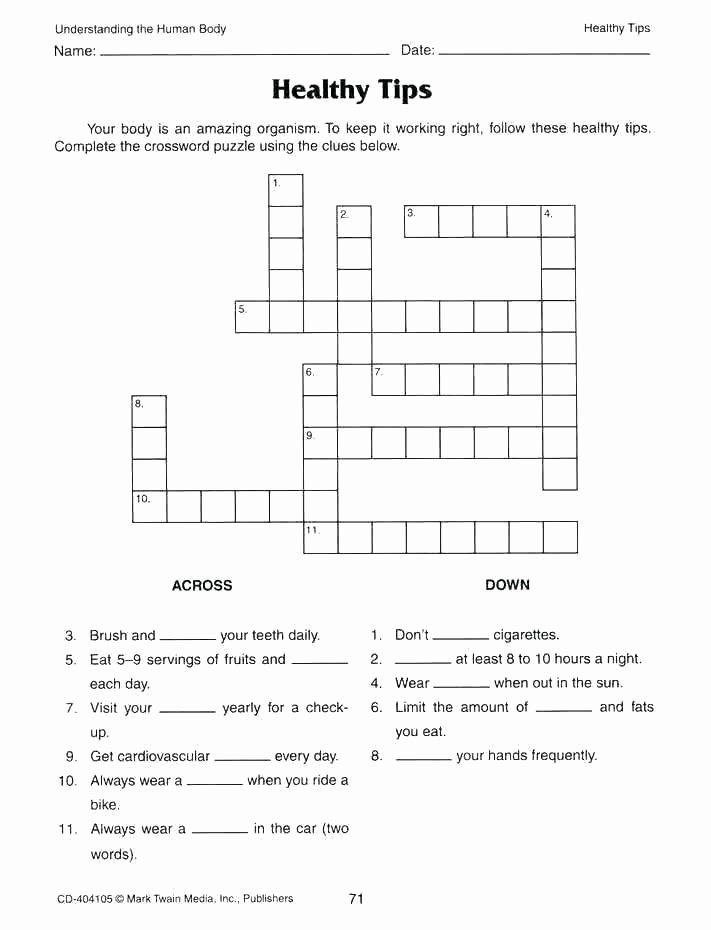 Body Systems Crossword Puzzle Inside the Living Body Worksheet Beautiful organization