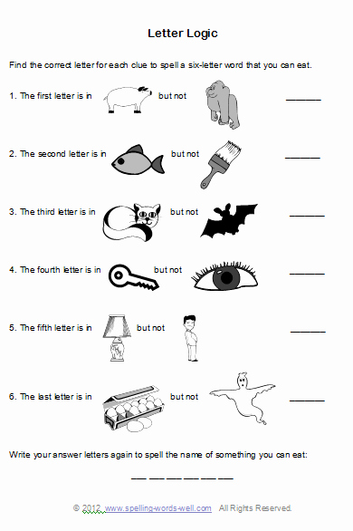 Brain Teaser Answers Worksheets Brain Teaser Worksheets for Spelling Fun Education
