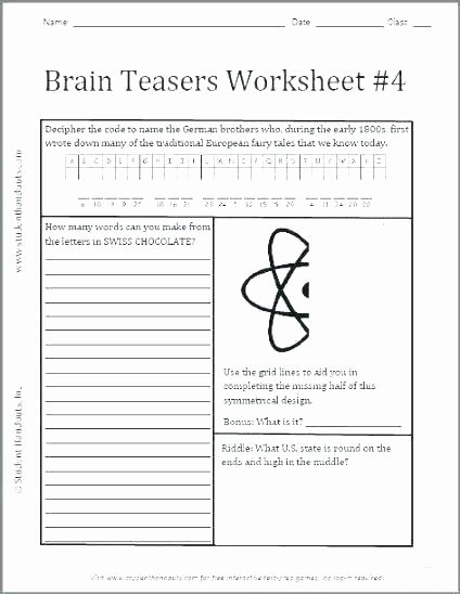Brain Teaser Answers Worksheets Brain Teasers Printable Worksheets