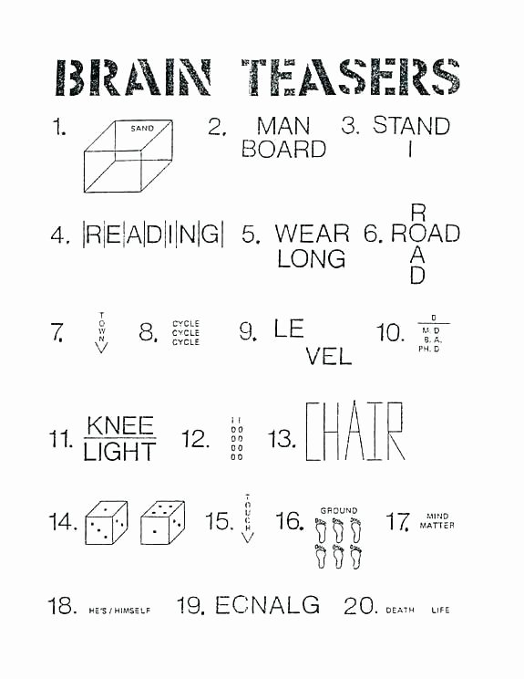 Brain Teaser Answers Worksheets Printable Brain Teaser Worksheets for Adults Free Math