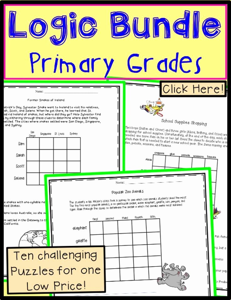 Brain Teaser Printable Worksheets Logic Puzzles for Second Grade