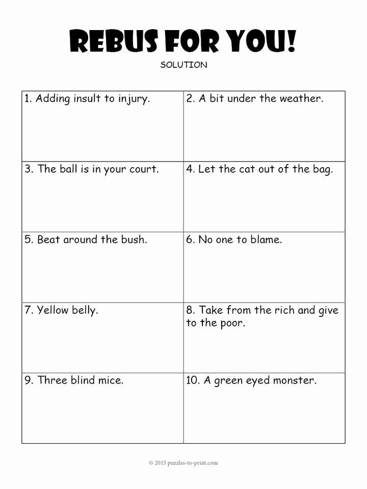Brain Teaser Worksheets Inspirational Rebus Worksheet 3 Education