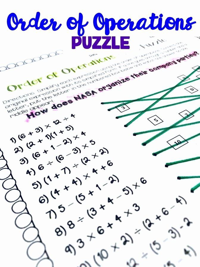 Brain Teaser Worksheets Middle School order Operations Line Puzzle Activity Math Teaching