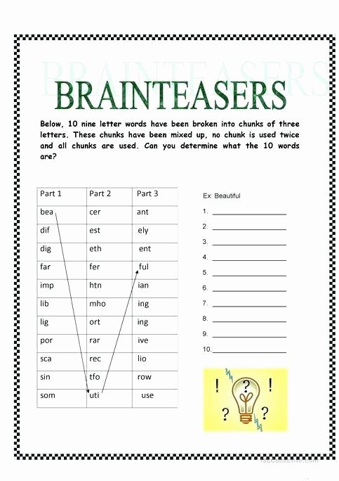 Brain Teaser Worksheets Pdf Brainteasers Full Screen Fun Activities Games 1 English