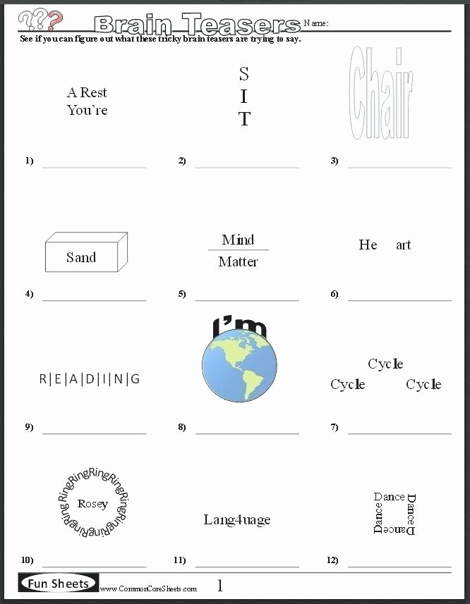 Brain Teaser Worksheets Pdf Math Riddle Worksheets Fun Grade for All Download and