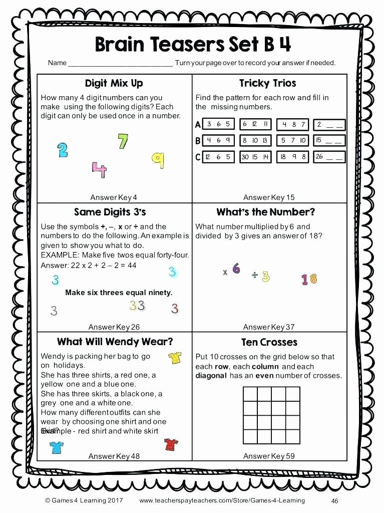Brain Teaser Worksheets Unique Free Math Brain Teasers Worksheets