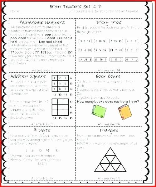 Brain Teaser Worksheets Unique Fun Brain Teaser Worksheets