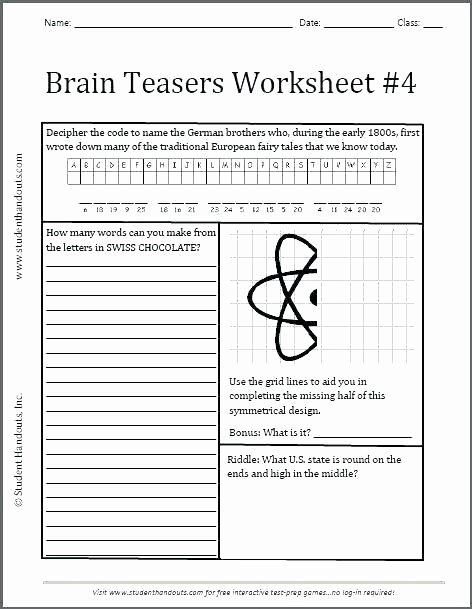Brain Teasers for Kids Worksheet 6th Grade Brain Teasers Worksheets – Onlineoutlet