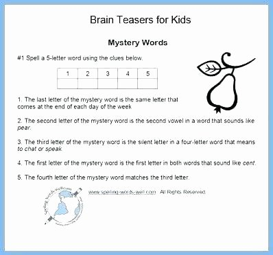 Brain Teasers for Kids Worksheets 2nd Grade Brain Teasers Worksheets