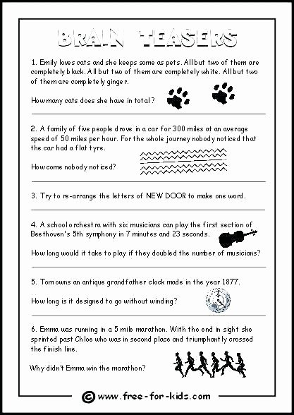 Brain Teasers for Kids Worksheets Math Logic Brain Teasers with Answers