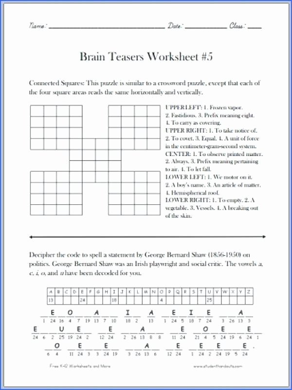 Brain Teasers Printable Worksheets Math Worksheets Brain Teasers for Middle School Incredible