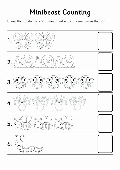 Bug Worksheets for Preschool Counting Numbers Worksheets for Kindergarten Paring 1 100