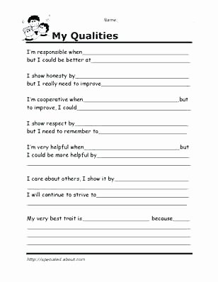 Building Self Confidence Worksheets Self Esteem Worksheets for Kindergarten
