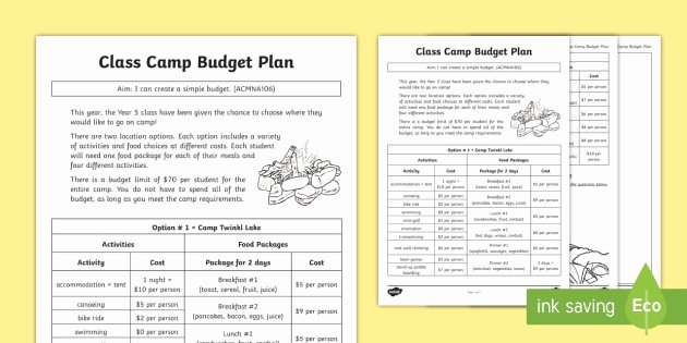 Camping themed Worksheets Class Camp Bud Plan Worksheet Worksheet Money