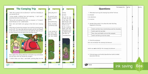 Camping themed Worksheets Ks1 the Camping Trip Fictional Differentiated Reading