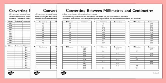 Capacity Conversion Worksheet Converting Between Centimetres and Metres and Millimetres
