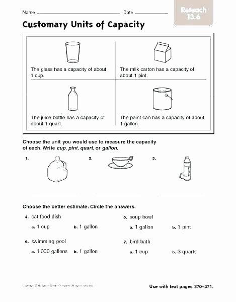 Capacity Conversion Worksheet Measuring Cup Worksheets