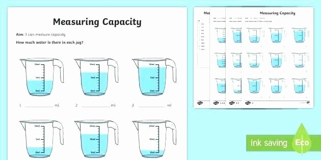 Capacity Conversion Worksheet Volume Worksheets for Kindergarten Teaching Capacity