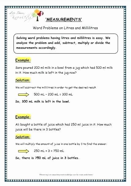 Capacity Worksheets 3rd Grade Year 3 Maths Worksheets