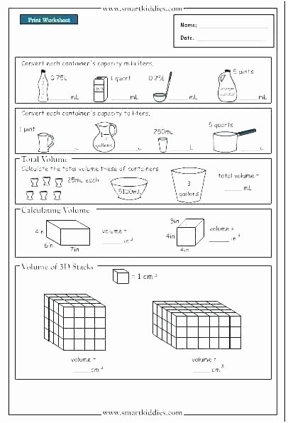 Capacity Worksheets 4th Grade Measuring Volume Worksheets Liquid Volume Worksheets