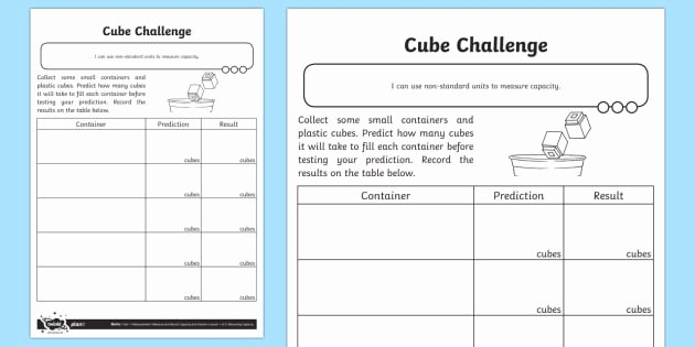 Capacity Worksheets Kindergarten Cubes Challenge Worksheet Worksheet Measurement Non