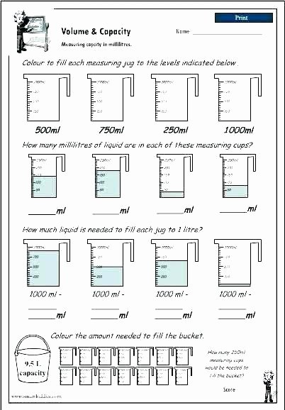 Capacity Worksheets Kindergarten Free Measurement Worksheets
