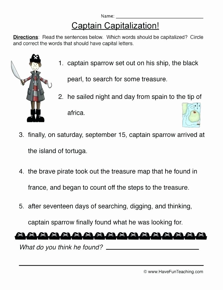 Capitalization and Punctuation Worksheets Pdf Capitalization Worksheets Grade Grammar Capitalization