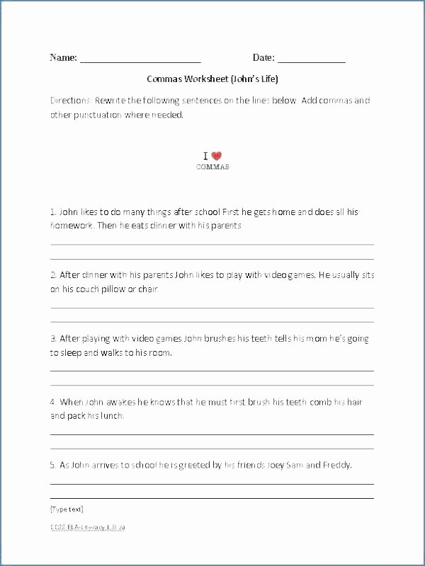 Capitalization and Punctuation Worksheets Pdf Grade 8 Language Arts Worksheets 8th Printable Free