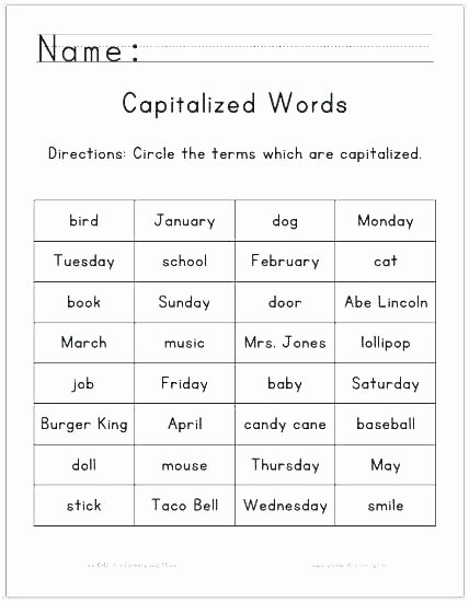 Capitalization Worksheet Middle School Capitalization Worksheets Grade 2