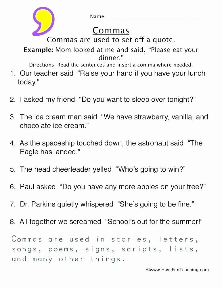 Capitalization Worksheet Middle School Punctuation and Capitalization Worksheets Pdf High School