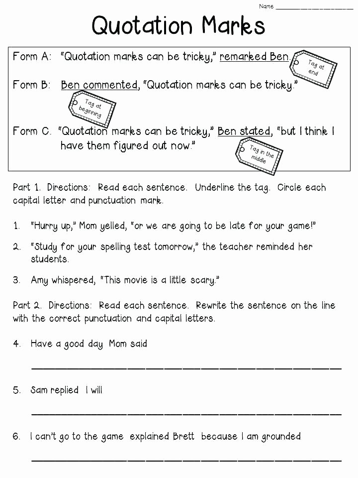 Capitalization Worksheet Middle School Punctuation Using Basic Rules Esl Worksheets
