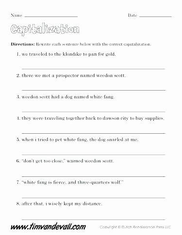 Capitalization Worksheets for 2nd Grade Capitalization Worksheets 2nd Grade