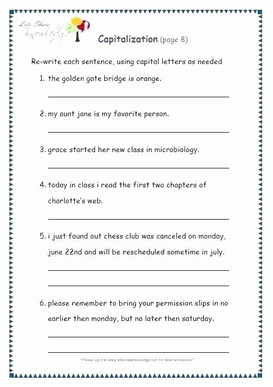 Capitalization Worksheets Grade 1 First Grade Capitalization Worksheets – Openlayers