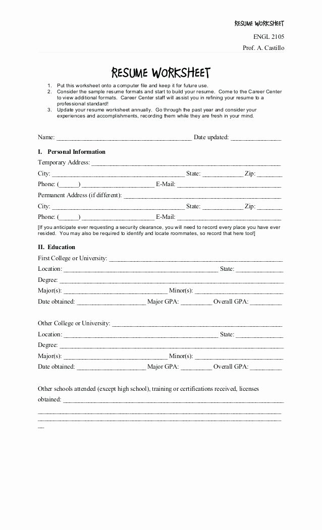 Career Worksheets for Middle School Awesome Resume Worksheet for High School Students – Emelcotest