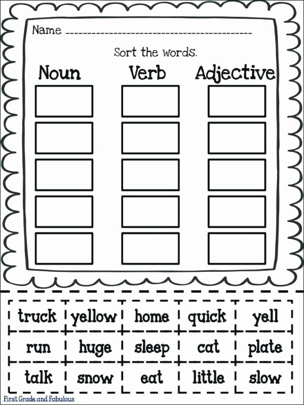 Categorizing Worksheets for 1st Grade Adjective Worksheets 5th Grade Noun Verb Worksheet