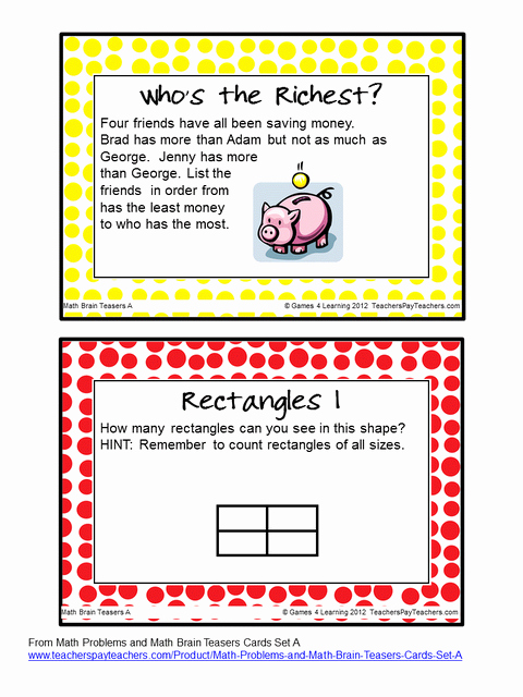 Challenge Math Worksheets Freebie Math Brain Teasers the Kids Love Having their