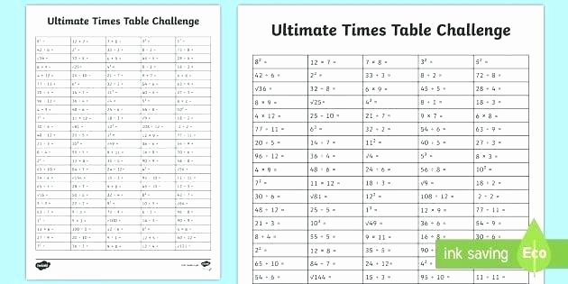 Challenge Math Worksheets Multiplication Table Activity Worksheets Tables Printable